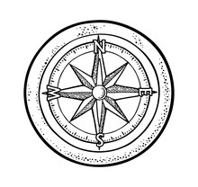 Compass Rose Isolated On White...