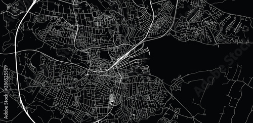 Fotomural Urban vector city map of Kolding, Denmark