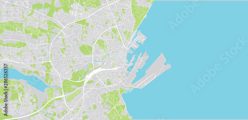 Urban vector city map of Aarhus, Denmark Canvas Print