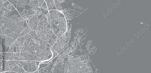 Urban vector city map of Copenhagen, Denmark Fototapet