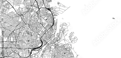 Fotomural Urban vector city map of Copenhagen, Denmark