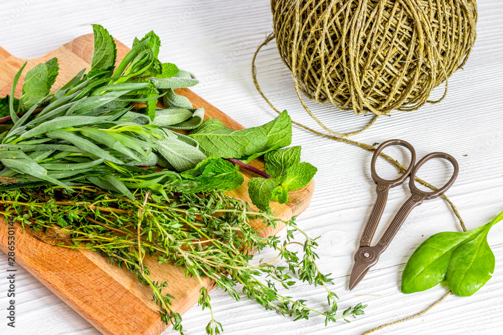 Fototapety, obrazy: harvesting herbs for winter on wooden background