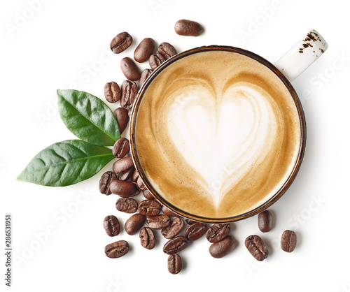 Leinwand Poster Coffee latte or cappuccino art with heart shape