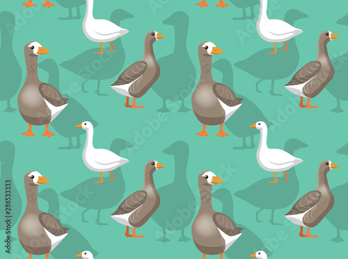 Fotografía  Domestic Goose Pilgrim Cartoon Background Seamless Wallpaper