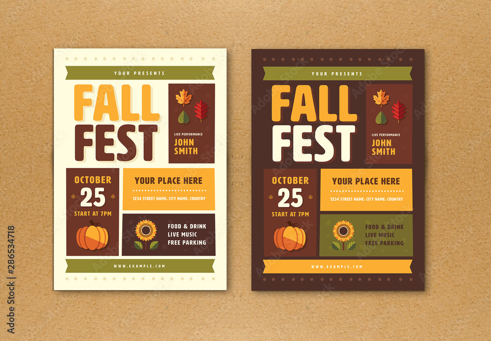 Fototapety, obrazy: Fall Festival Flyer with Graphic Elements