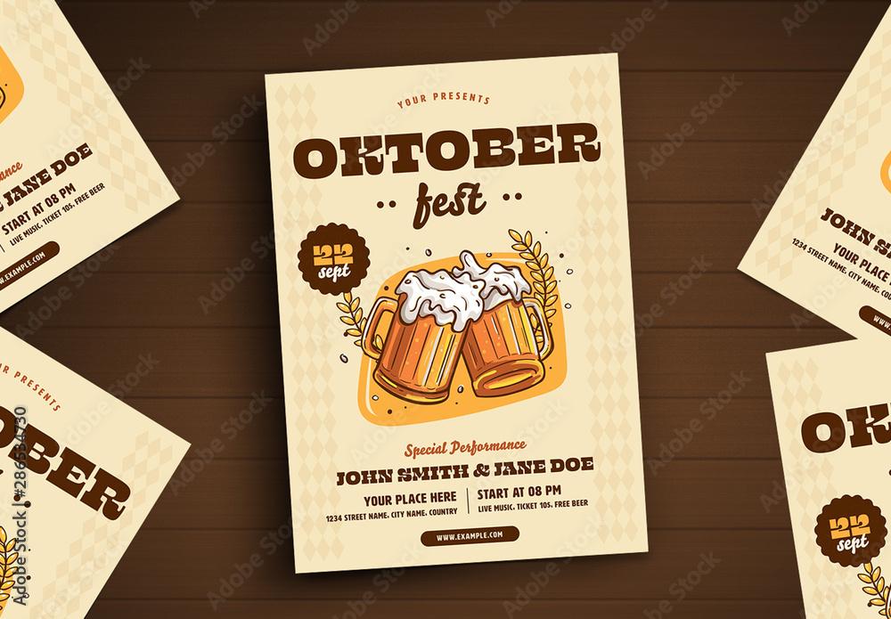 Fototapety, obrazy: Oktoberfest Flyer with Graphic Illustrations