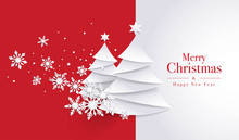 Merry Christmas Greeting Card, Christmas Tree And Snowflake On Red Background.