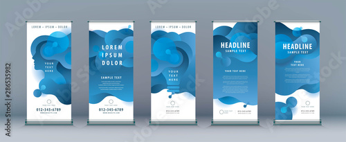 Business Roll Up Set. Standee Design. Banner Template, Abstract Liquid Shape Fluid Design