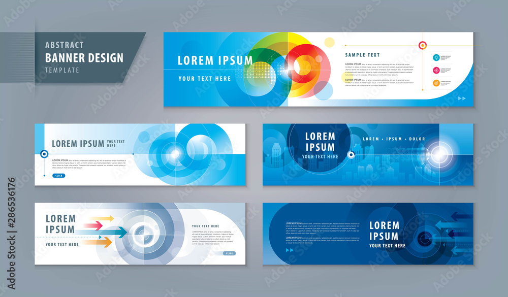 Fototapeta Abstract banner design web template Set, Horizontal header web banner