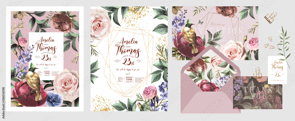 Fototapeta Wedding invitation, save the date or flyer\card for any event and party. Original floral greeting with flowers, plants, leaves and a bird of paradise of happiness