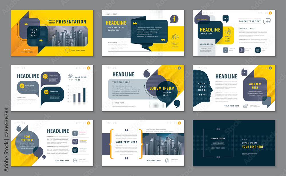 Fototapeta Abstract Presentation Templates, Infographic Black and Yellow elements Template design set