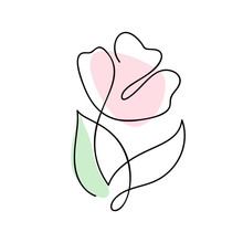 Continuous Line Hand Drawing Calligraphic Vector Flower Rose Concept Logo Beauty. Monoline Spring Floral Design Element In Minimal Style. Valentine Love Concept