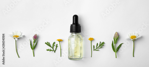 Bottle of essential oil and wildflowers on white background, top view Wallpaper Mural