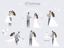 Set Of Wedding Invitation Design Elements. The Perfect Design For Wedding Card. Marriage, Bride And Groom, Love, White Pigeons, Bicycle, Wedding Cake, Wedding Dance, Flower Arch, Lilac, Blue
