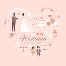 Set Of Wedding Invitation Design Elements. The Perfect Design For Wedding Card. Marriage, Bride And Groom, Bride's Bouquet, Cake, Love, Ribbon, White Pigeons, Flower Arch, Pink