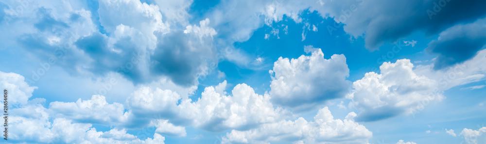 Fototapeta blurry sky panorama.Panoramic shot of a beautiful cloudy sky.