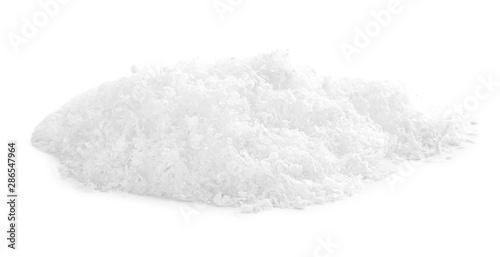 Heap of snow on white background. Christmas season Billede på lærred