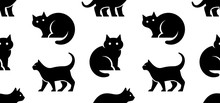 Seamless Pattern With Cat Logo. Isolated On White Background