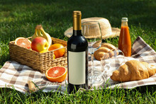 Picnic Composition With Wine A...