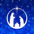 canvas print picture - Christmas Nativity ball blue background