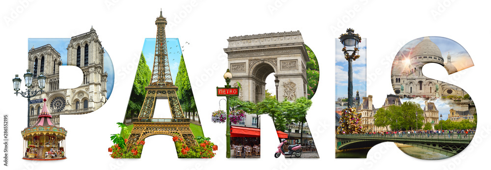 Fototapeta Paris city landmarks. Word illustration of most famous Paris monuments and places.