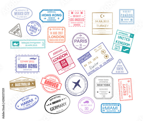 Fotomural  Stamp in passport for traveling an open passport