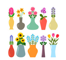 Set Of Colored Vases With Bloo...