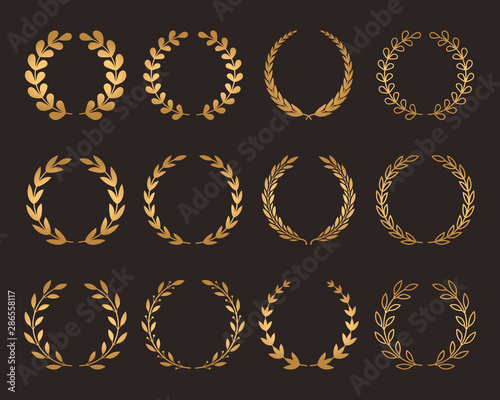 Fotomural A large set of various laurel golden wreaths