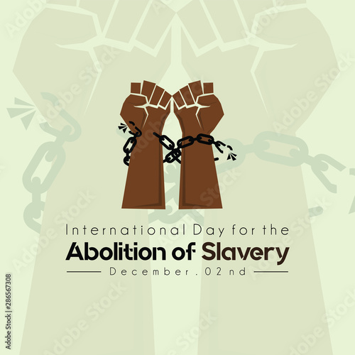 International Day for the Abolition of Slavery, Hand with Chain and background Canvas Print
