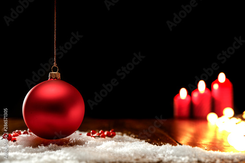 Foto-Lamellenvorhang - Chritmas decorations on wooden wall and table background. (von magdal3na)