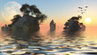 Sunrise over rocky islets