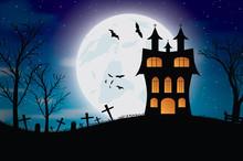 Halloween Bats And Dark Castle On Blue Moon Background. Vector Illustration.