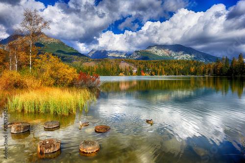 Fototapeta Autumn landscape of Strbskie Pleso in Slovakian Tatra mountains obraz