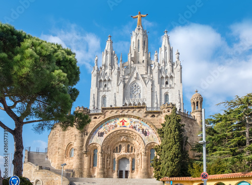 The famous attraction of Barcelona -  Expiatory Church of the Sacred Heart of Je Wallpaper Mural