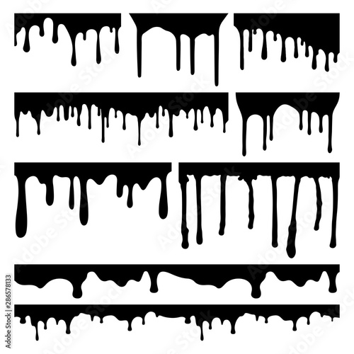 Fotografie, Tablou  PAINT DRIP VECTOR SET