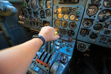 Thrust Lever In The Cockpit Of Aircraft. Take Off.
