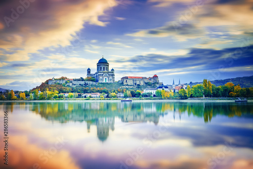 Wall Murals Beige Esztergom, Hungary, seasonal autumn scenery over Danube river.