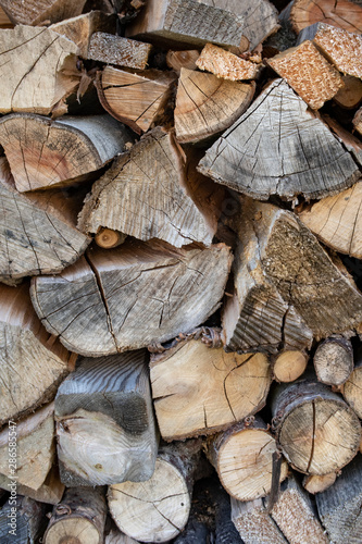 Printed kitchen splashbacks Firewood texture Background: Chopped wood stacked outside