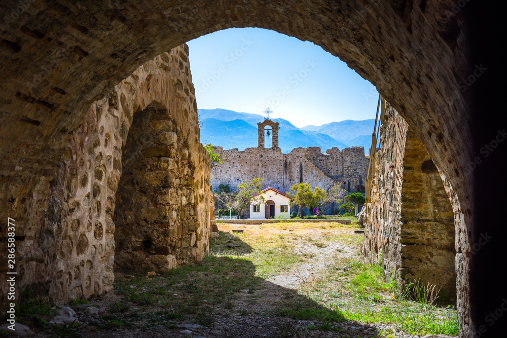 Fototapety, obrazy: Scenic view of Venecian fortress Rio castle in Greece, near Rio-Antirio Bridge crossing Corinth Gulf strait, Peloponnese, Greece
