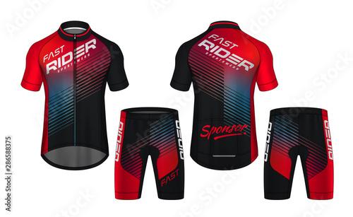 Fotografía  Cycling Jerseys mockup,t-shirt sport design template,uniform for bicycle apparel