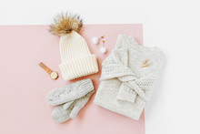 Gray Warm Knitted Sweater With...