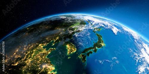Photo Detailed Earth. Korea and Japan