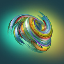 3d Render, Abstract Neon Background With Grungy Brush Strokes, Twisted Multicolor Paint Splashing, Object Isolated On Yellow Green