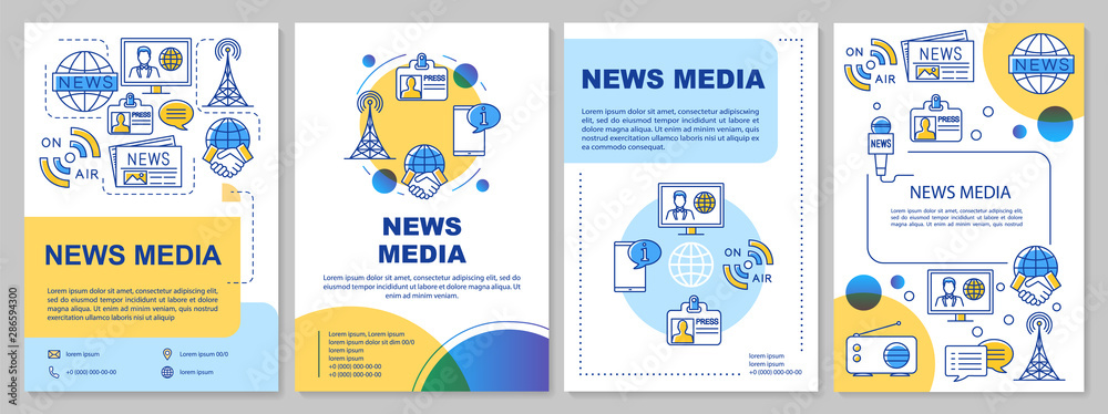 Fototapeta News media template layout. Flyer, booklet, leaflet print design with linear illustrations. Telecommunication industry. Vector page layouts for magazines, annual reports, advertising posters