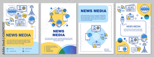 News media template layout. Flyer, booklet, leaflet print design with linear illustrations. Telecommunication industry. Vector page layouts for magazines, annual reports, advertising posters