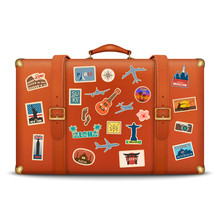 Vector 3d Realistic Retro Leather Brown Threadbare Suitcase With Travel Stickers, Metal Corners And Belts Icon Closeup Isolated On White Background. Vacation Concept. Vintage Trip Bag. Front View