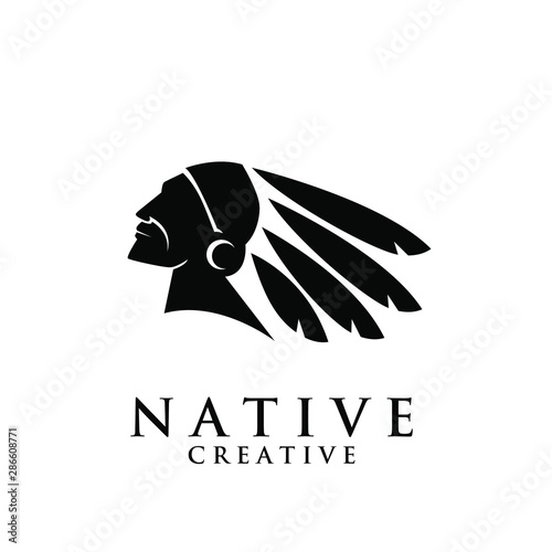 Photo native apache indian logo icon designs vector illustration template