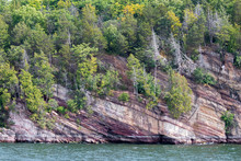 Trees Growing On Rocky Cliffside On Lake Champlain, Vermont USA