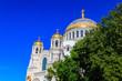 Leinwanddruck Bild - Orthodox naval cathedral of St. Nicholas in Kronstadt, Russia