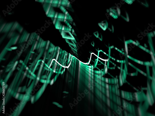 Fényképezés  Illustration - Sound Waves, electric oscilloscope, jagged neon lines representing sound or pulse